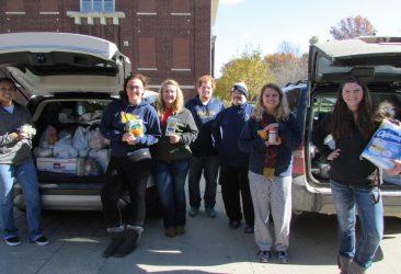 students at food drive