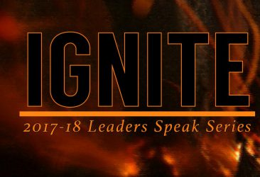 Leaders Speak Series 2017-18 Ignite logo with fire background