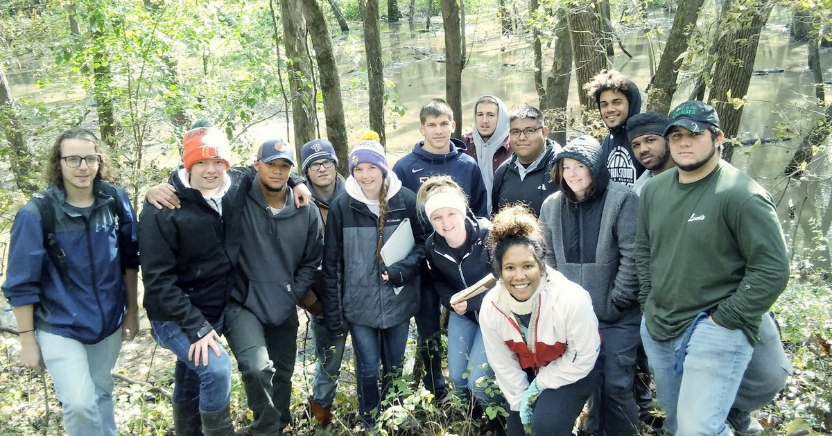 wildlife ecology club students in forest